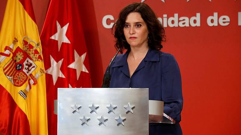 """Ayuso anuncia que la Comunidad de Madrid retirará las medidas cautelares """"para evitar más confusión a los ciudadanos"""""""