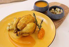 Pollo asado en calabaza