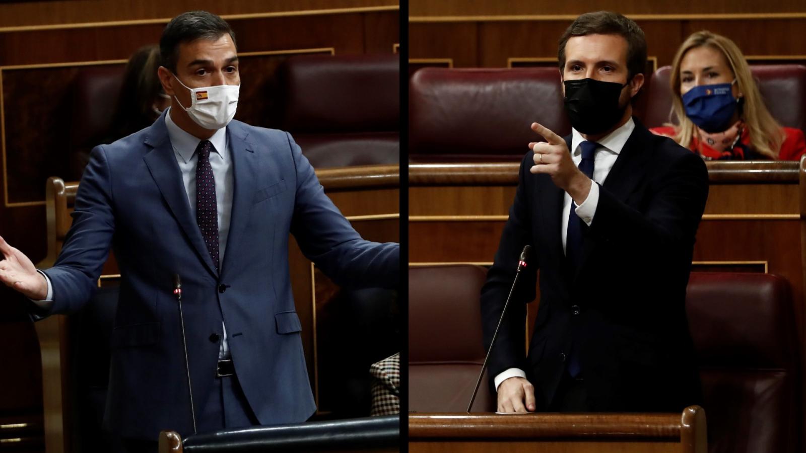 """Casado acusa a Sánchez de """"liquidar"""" la separación de poderes con la reforma judicial y este le culpa del """"bloqueo"""""""