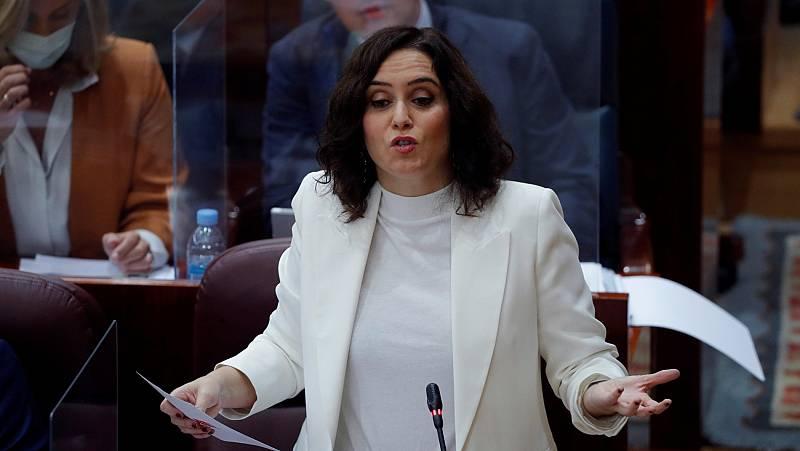 """Ayuso asegura que el Gobierno impuso el estado de alarma en Madrid """"a punta de pistola"""""""
