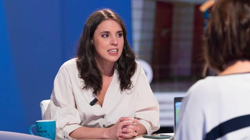 """Entrevista en La Hora de La 1 a la ministra de Igualdad, Irene Montero, que ha acusado al PP de querer """"controlar por detrás"""" el poder judicial"""