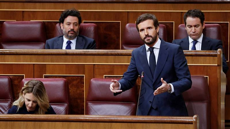 """Casado sigue sin desvelar el voto del PP en la moción de Vox y cree que la """"maniobra"""" fracasará"""