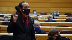 """Iglesias acusa a Vox de llenar de """"inmundicia"""" las instituciones después de que un senador le llame """"matón de barrio"""""""