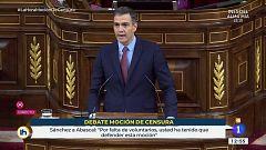 """Pedro Sánchez contesta en el Congreso a Abascal: """"Quizás esta moción sea una especie de OPA hostil contra el PP"""""""