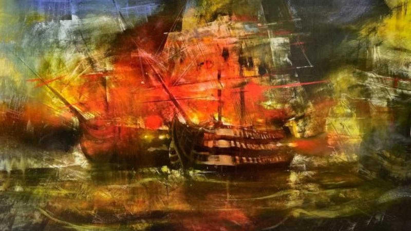 Un joven pintor malagueño recrea la batalla de Trafalgar en 40 cuadros