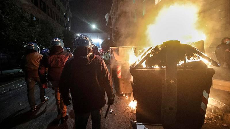 Disturbios en Roma en las protestas por las nuevas restricciones y cierres al ocio