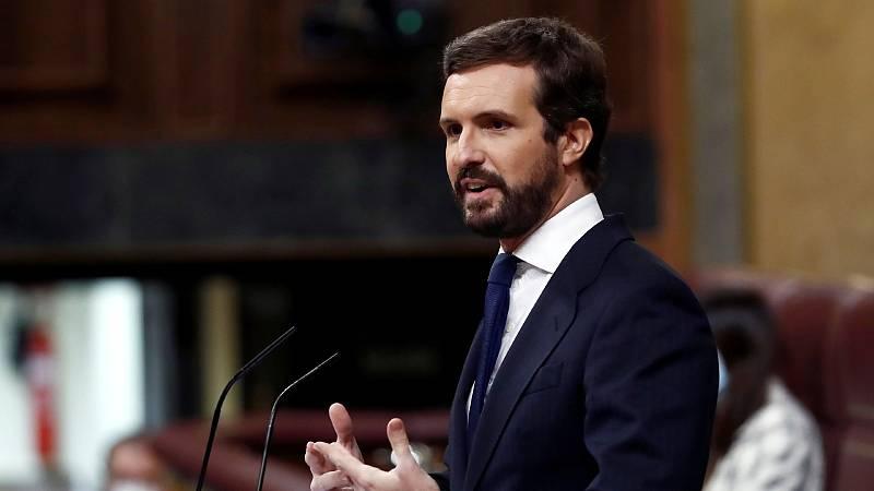 """Casado reprocha al Gobierno el """"pacto"""" con Bildu y ERC para los presupuestos"""
