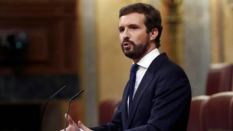 """Casado tacha de """"infame"""" el apoyo de Bildu al Gobierno y Sánchez le reprocha una estrategia """"trumpista"""""""
