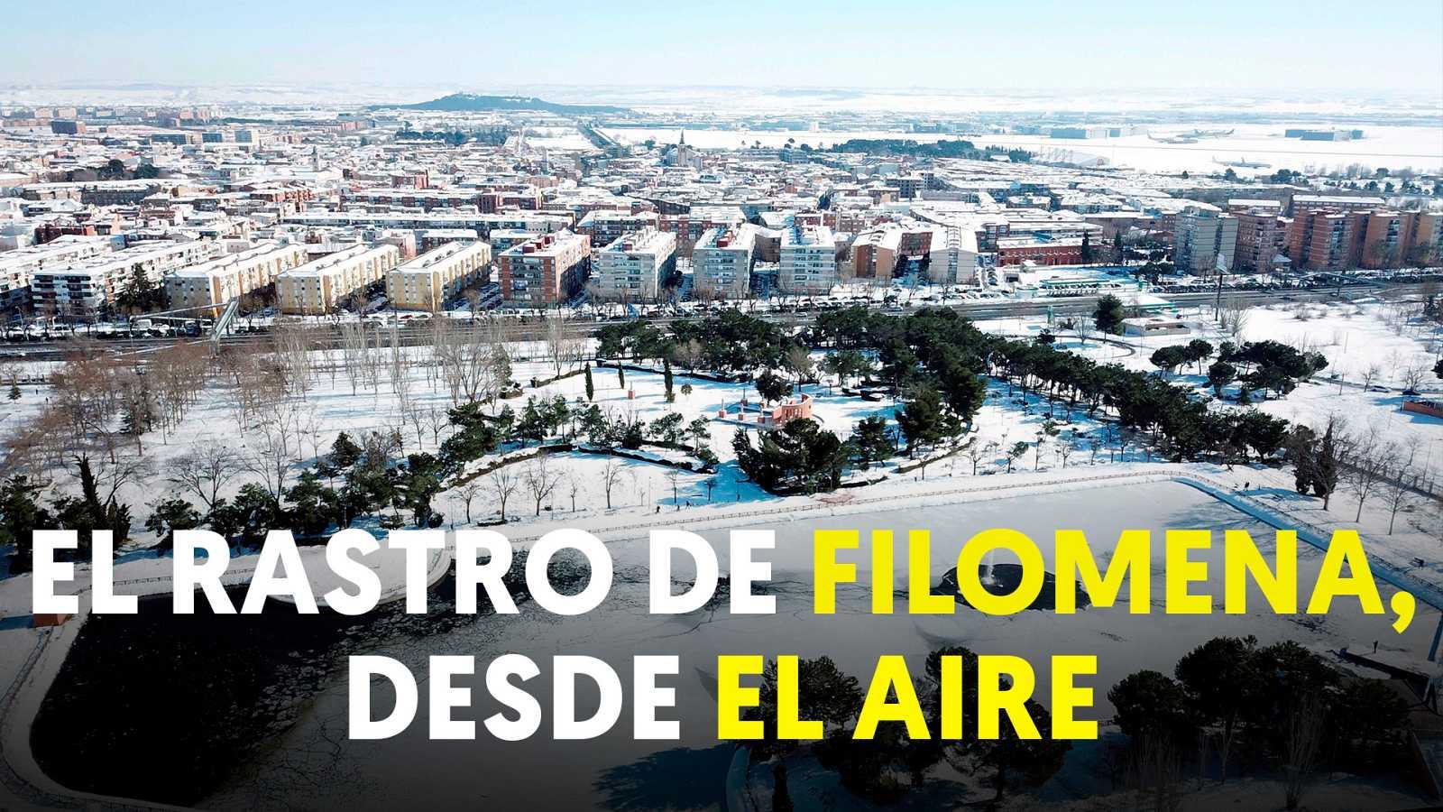 El paisaje que ha dejado el paso de Filomena, a vista de dron