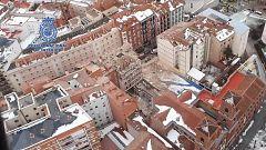 Imágenes aéreas de la explosión de un edificio en el centro de Madrid