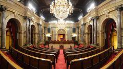 Juan Carlos Ortega y Gemma Nierga recorren el Parlament de Cataluña en la noche electoral
