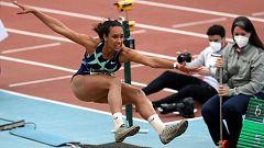 María Vicente rompe a llorar por el borrado de su salto en la final de longitud
