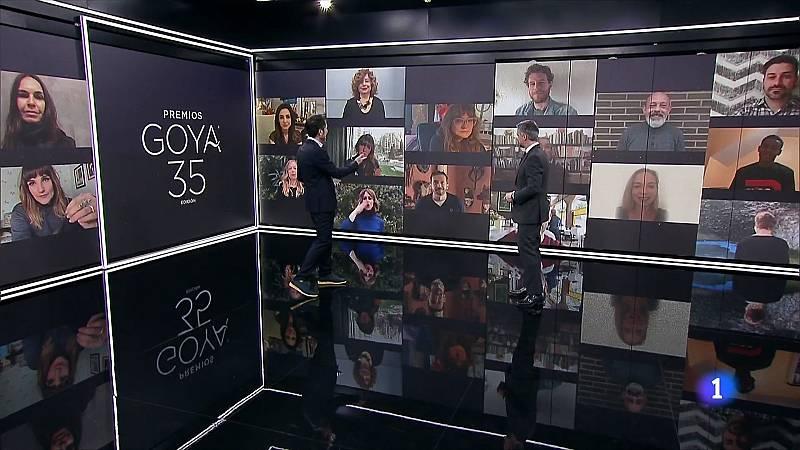 Los candidatos de los Premios Goya 2021 se trasladan telemáticamente al plató del Telediario