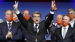 Laporta celebra su elección como presidente del Barça
