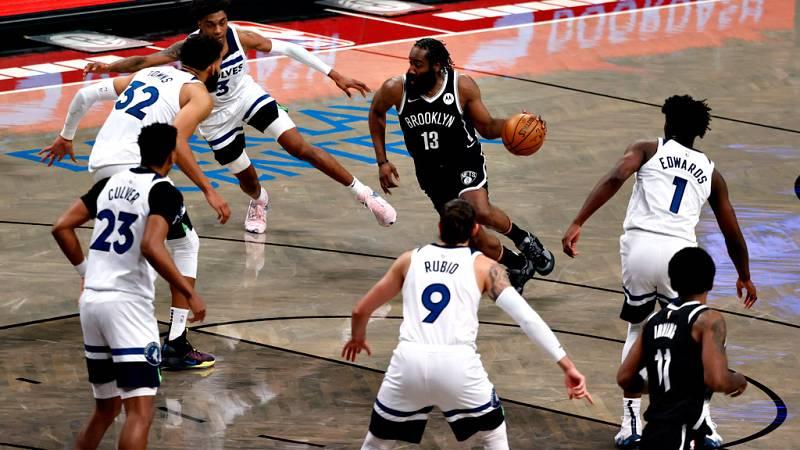 Los Timberwolves de Ricky Rubio acaban sucumbiendo ante los Nets del coloso Harden (112-107)