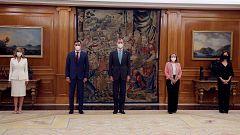 Calviño, Díaz y Belarra prometen su cargo ante el rey y sobre la Constitución tras la reestructuración del Gobierno