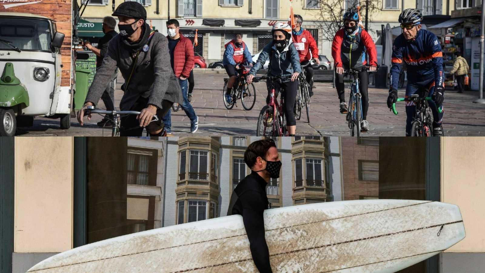 Ciclismo y surf: cuando un deporte se agranda ante el coronavirus