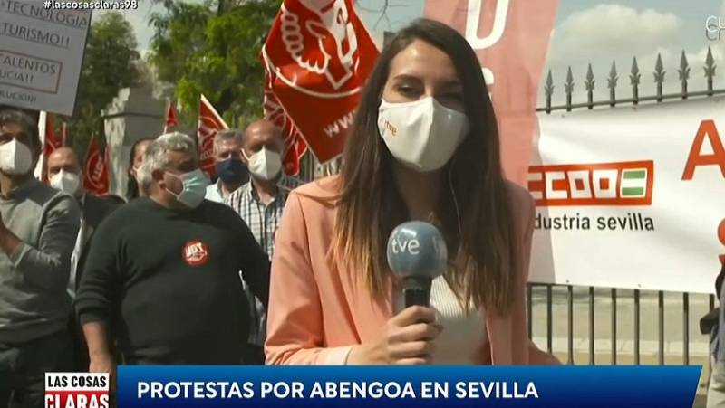 Protesta de los trabajadores de Abengoa frente al Parlamento andaluz