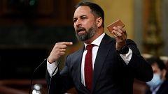 Abascal saca un adoquín en la tribuna del Congreso y culpa a Marlaska y Unidas Podemos de la violencia contra Vox