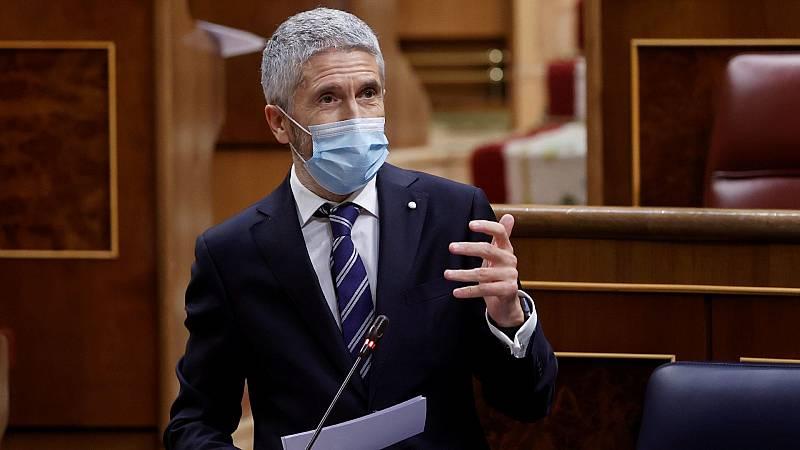 """Marlaska repite que no dejará su cargo por el cese de Pérez de los Cobos y la oposición insiste: """"Si le queda decencia, dimita"""""""