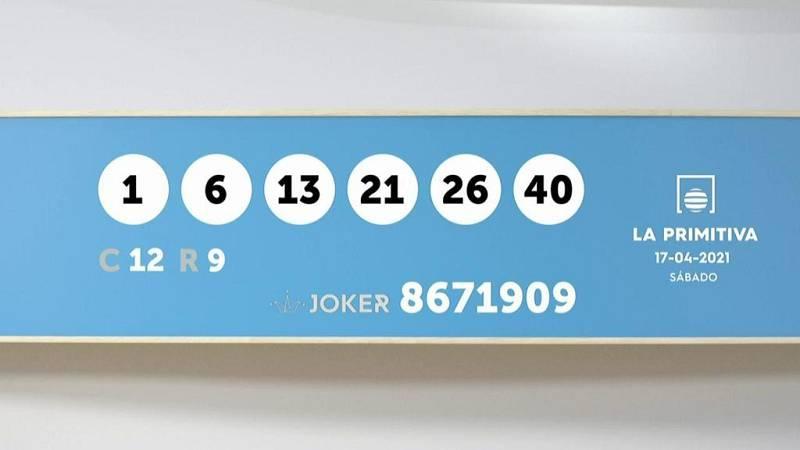 Sorteo de la Lotería Primitiva y Joker del 17/04/2021 - Ver ahora
