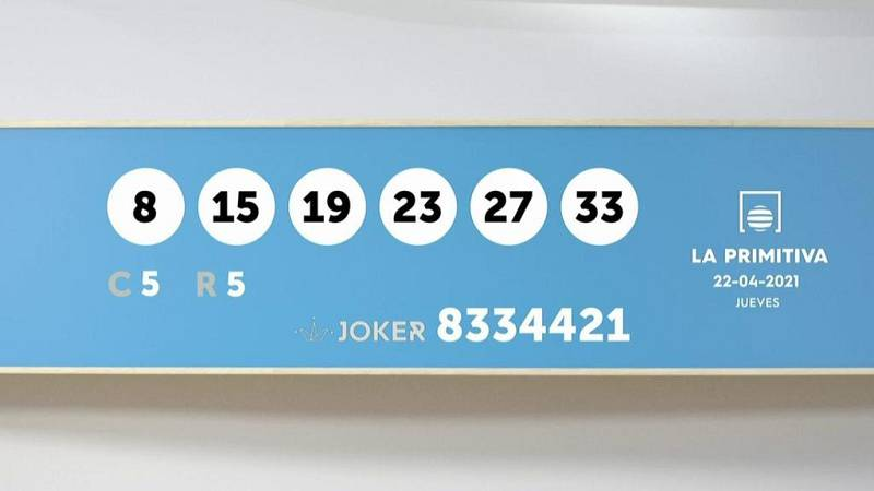 Sorteo de la Lotería Primitiva y Joker del 22/04/2021 - Ver ahora