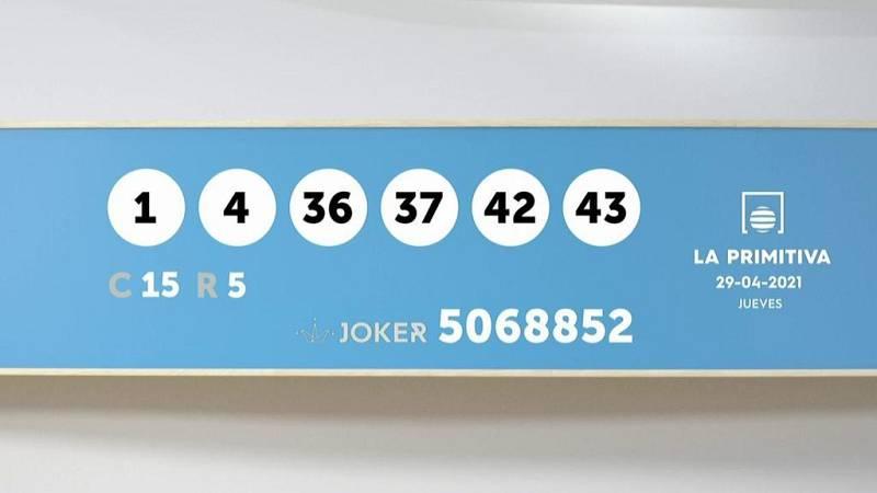 Sorteo de la Lotería Primitiva y Joker del 29/04/2021 - Ver ahora