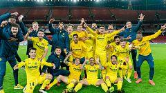 El Villarreal festeja por todo lo alto su pase a la final de la Europa League