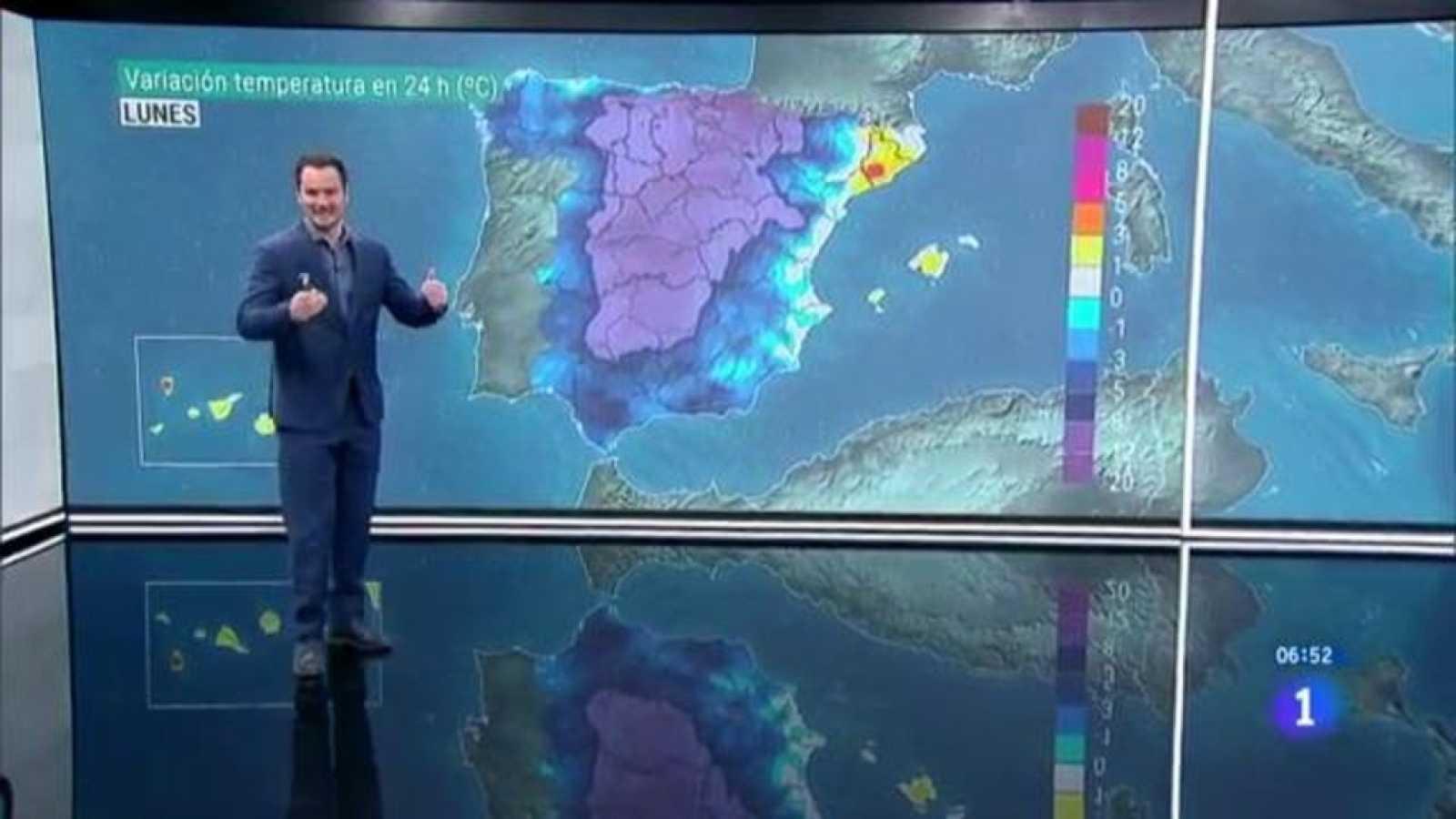 Las lluvias y el descenso de las temperaturas siguen este lunes