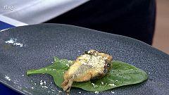 Receta de fritura de pescado: boquerones y espinacas
