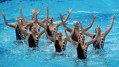 Rutina del equipo español de natación sincronizada en el Europeo de Budapest