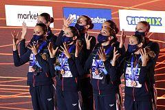 El equipo español de natación sincronizada, bronce europeo en Budapest