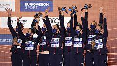 Así recibió la medalla de plata el equipo español de rutina libre