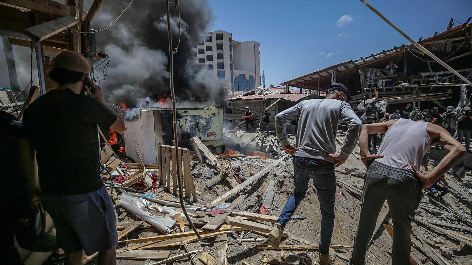 Los bombardeos israelíes continúan sobre Gaza por octavo día consecutivo