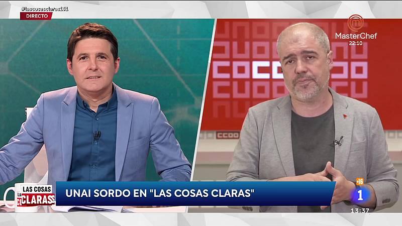 """Unai Sordo (CCOO), sobre la negociación de los ERTE: """"El texto normativo está acordado, pero hay discrepancias sobre el sistema de exoneraciones"""""""