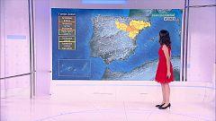 Temperaturas altas en Canarias y los valles del Guadalquivir y del Guadiana. Chubascos y tormentas que podrán ser localmente fuertes en el entorno del sistema Ibérico oriental y en Pirineos