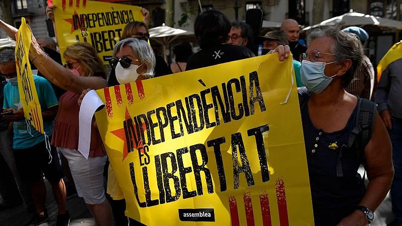 Protestas por la conferencia de Sánchez en Barcelona