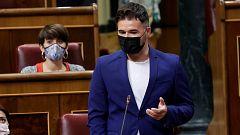 """Rufián pide a Sánchez ir más allá de los indultos y cuestiona si su cambio de discurso en Cataluña es """"valentía o necesidad"""""""