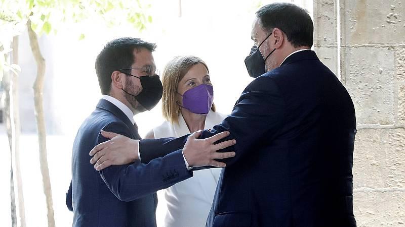 """Aragonès recibe a los presos indultados: """"Seguimos empeñados en lograr la independencia"""""""