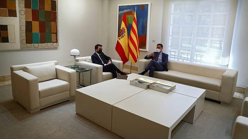 Sánchez y Aragonès se reúnen en La Moncloa en su primer encuentro oficial