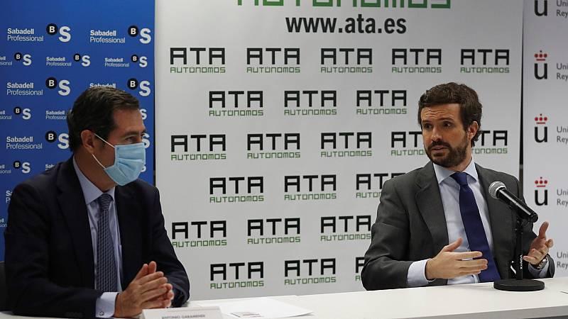 """Casado critica el pacto de las pensiones ante Garamendi: """"El Gobierno va a arruinar a nuestros hijos"""""""