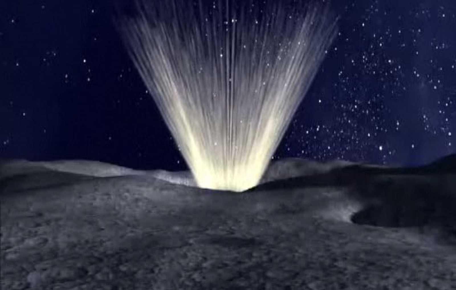 Recreación de la misión LCROSS que impactará en la Luna en busca de agua