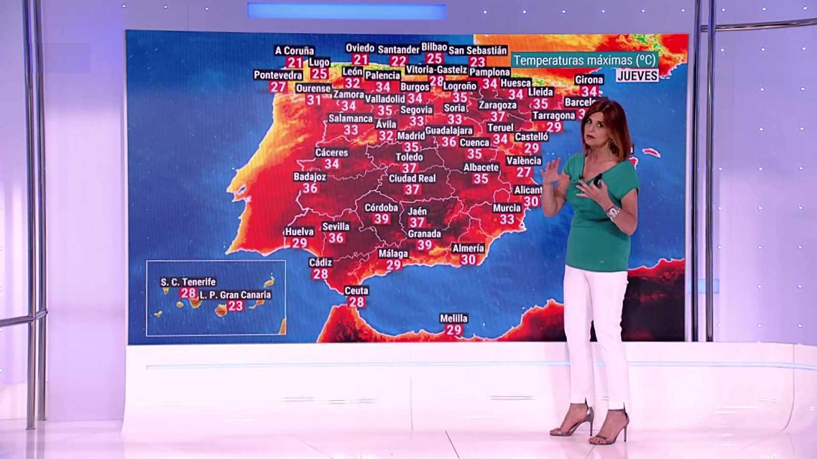 Temperaturas máximas altas en áreas de la meseta Sur y del interior de Andalucía - ver ahora