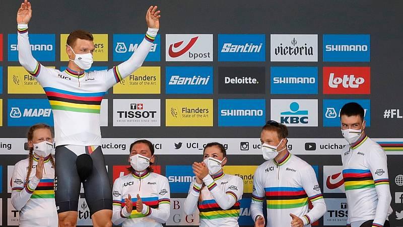 Alemania viste a Tony Martin con el maillot arcoíris en la crono mixta, la última del corredor de Jumbo-Visma