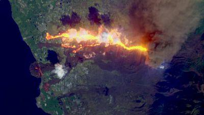 Dos coladas de lava se unen a su paso por La Laguna