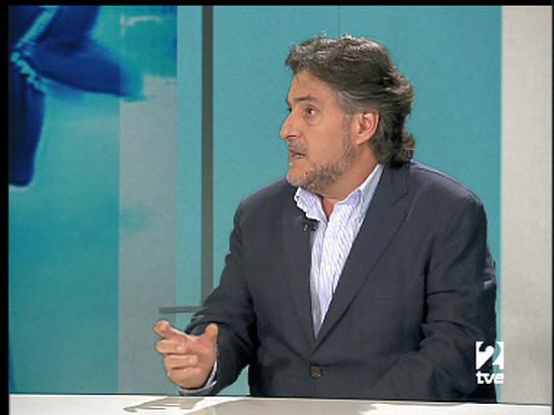 El entrenador de la selección española de baloncesto, Pepu Hernández, es entrevistado en Teledeporte 2.