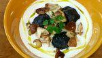 Raviolis de langostinos con setas